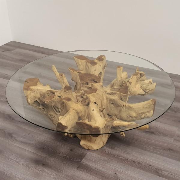 ROOT soffbord teakrot & glas 120 cm