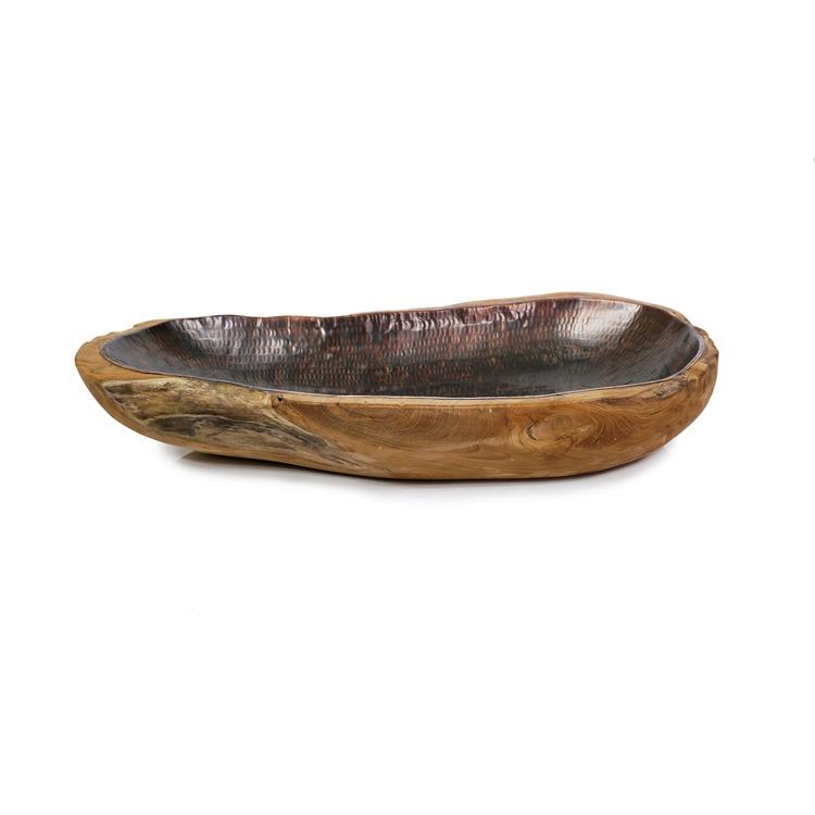 Rustik skål i trä och svart insida av hamrad aluminium