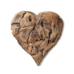 RAW stort hjärta i trä