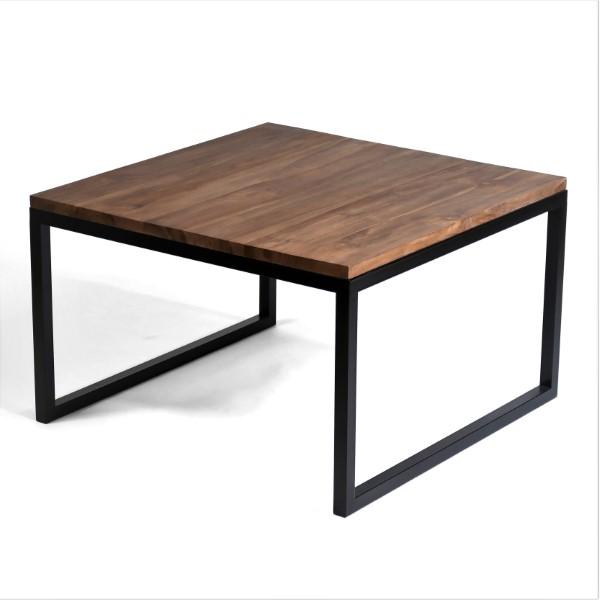 Artwood soffbord 80x80 valnötsbrun teak med svart underrede Rustikt