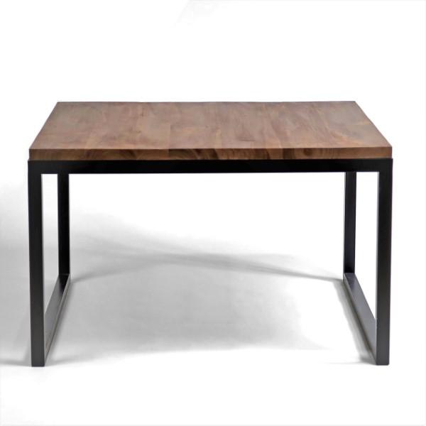 Rustikt soffbord 80x80 cm brun teak med svart metalunderrede