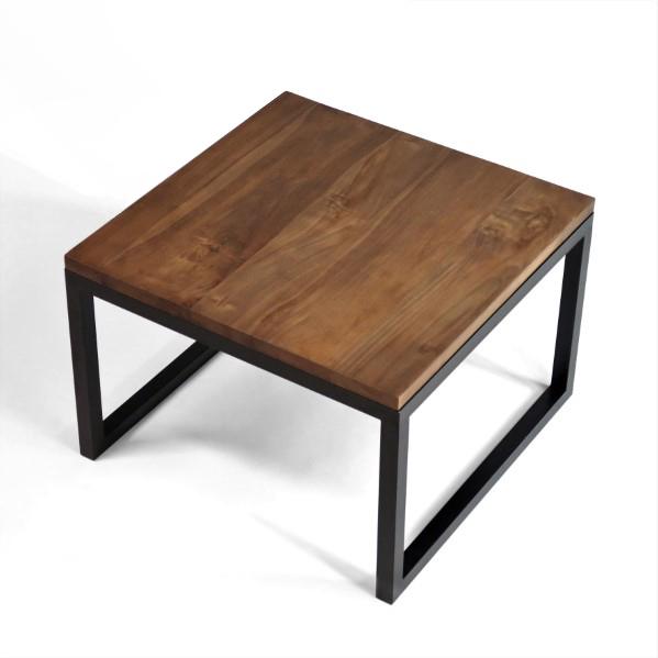 FRINELLO soffbord 60x60 valnötsbrun teak med svart underrede