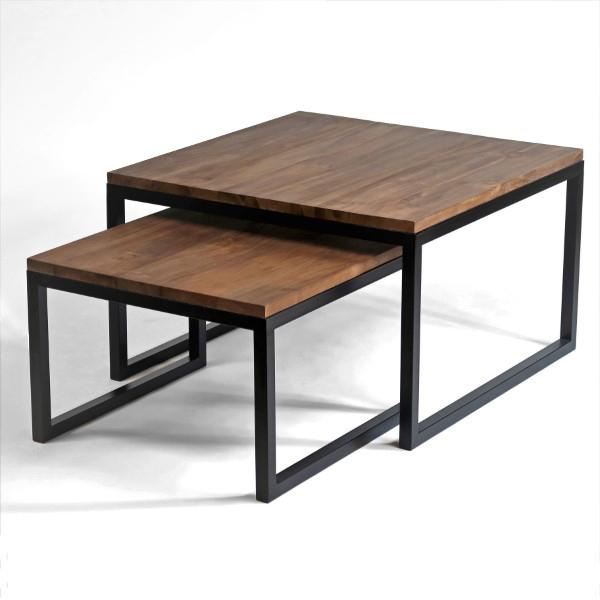 Set två soffbord Frinello i valnötsfärgat teak och svarta metallben