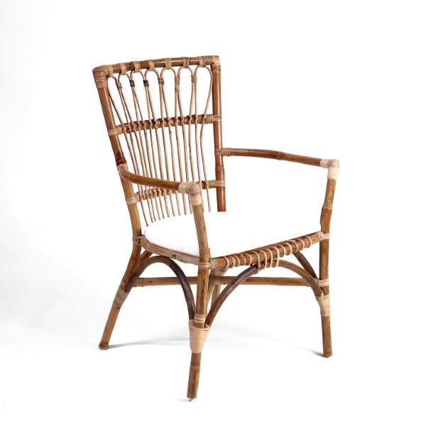 Matstol av naturrotting antik färg loungestol korgstol