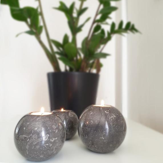 Klotformad ljushållare - grå marmor