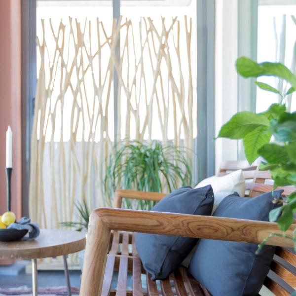 Naturligt insynsskydd av grenar för balkong, uterum eller altan