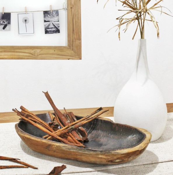 RAW träskål hamrad antiksvart i teak