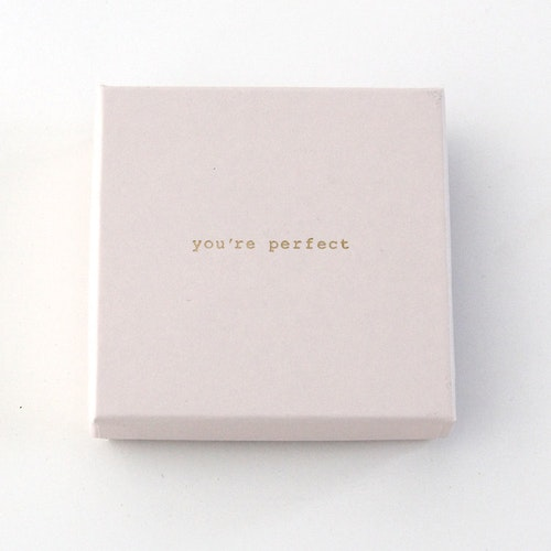 "Presentask ""You're perfect"" rosa/guld 86x86x26 mm"