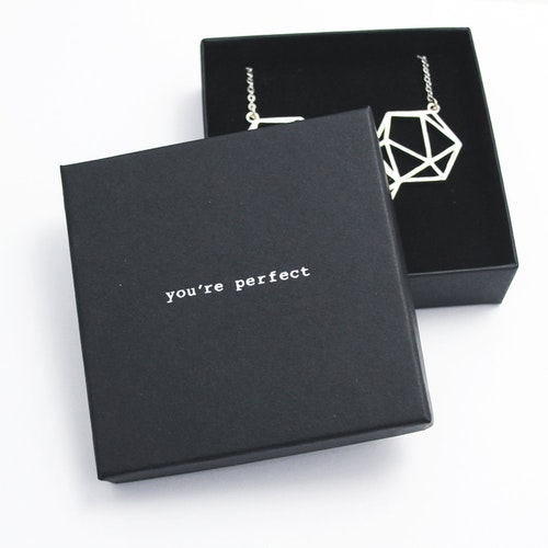 "Presentask ""You're perfect"" svart/silver 86x86x26 mm"