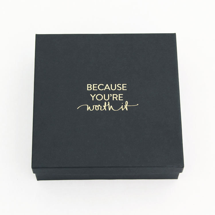 "Presentask ""Because you're worth it"" svart/guld 167x167 mm"