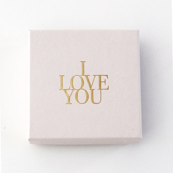 "Presentask ""I love you"" rosa/guld 86x86x26 mm"
