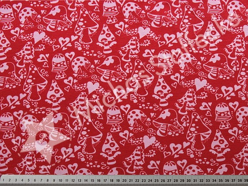 Öko-tex Stretchjersey Svampskog röd 1m