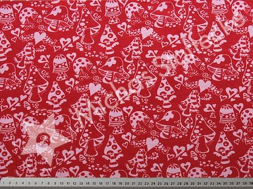 Öko-tex Stretchjersey Svampskog röd 0,6m