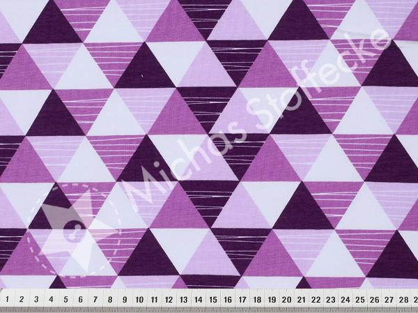 Öko-tex Stretchsweat Trianglar lila 1m