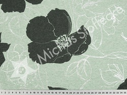 Öko-tex Stretchsweat Hibiskus metallic mint /dm