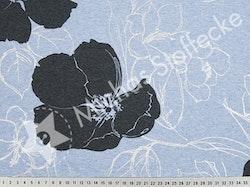 Öko-tex Stretchsweat Hibiskus metallic ljusblå /dm