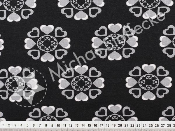 Öko-tex Stretchjersey hjärtblommor svart