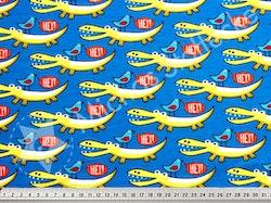 Ekologisk Stretchjersey Krokodiler på blått  /dm