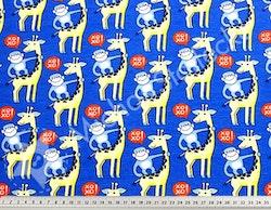 Ekologisk Stretchjersey Giraffer på blått  /dm