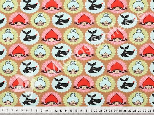 Öko-tex Digitaltryck  Stretchjersey Amuletter bruna  /dm