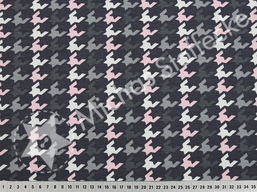 Öko-tex Stretchsweat Grafisk grå-rosa 0,6m