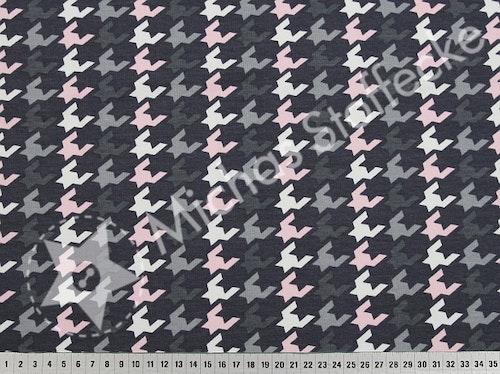 Öko-tex Stretchsweat Grafisk grå-rosa 1m