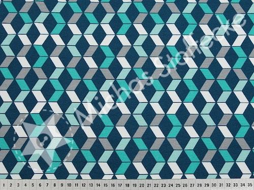 Öko-tex Stretchsweat Grafisk petrol-mint 0,6m