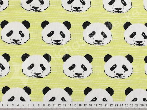 Öko-tex Stretchjersey panda lime-gul 1m