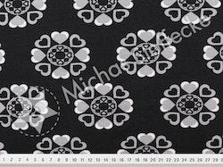 Öko-tex Stretchjersey hjärtblommor svart 1m