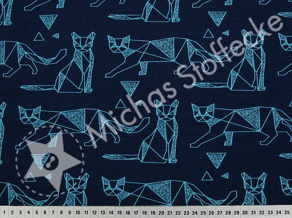 Öko-tex Stretchjersey Katter på mörkblått /dm