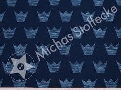 Öko-tex Stretchjersey  Blå kronor på mörkblått 1m