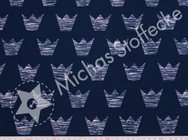 Öko-tex Stretchjersey Rosa kronor på mörkblått 1m