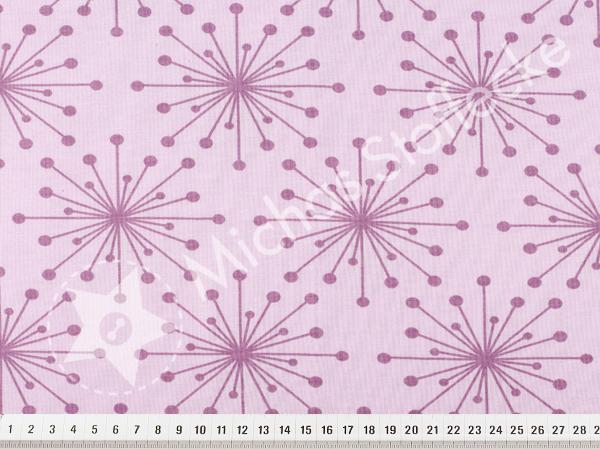 Öko-tex Stretchjersey Blommor lila 0,6m