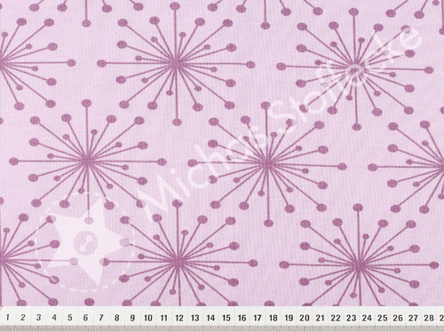 Öko-tex Stretchjersey  Blommor lila  1m
