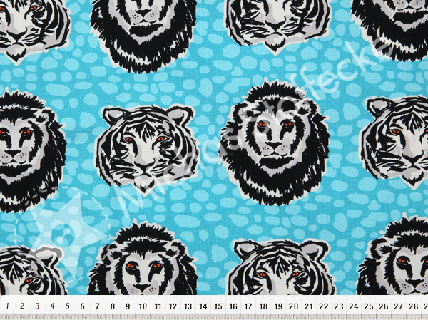 Öko-tex Digitaltryck  Stretchjersey  Tiger & lejon turkos 0,6m