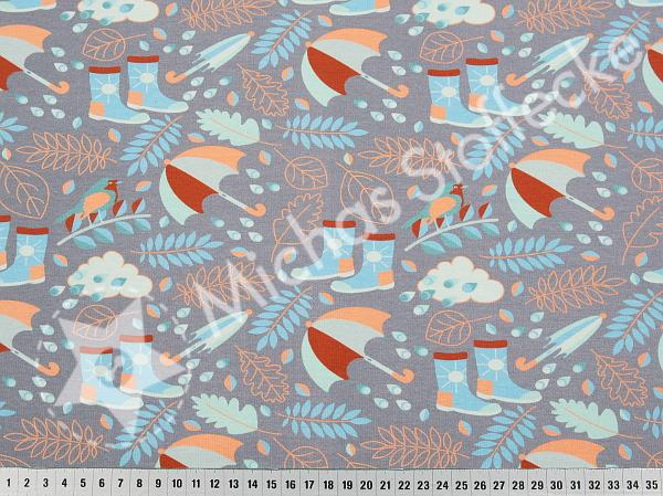 Öko-tex Digitaltryck  Stretchjersey Rainy day grå 0,6m
