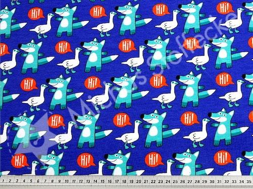 Ekologisk Stretchjersey Räv på blått 0,6m