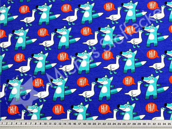 Ekologisk Stretchjersey Räv på blått 1m