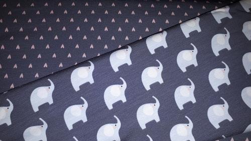 Öko-tex tvådelat!  Stretchjersey Elefanter rosa på grått /dm