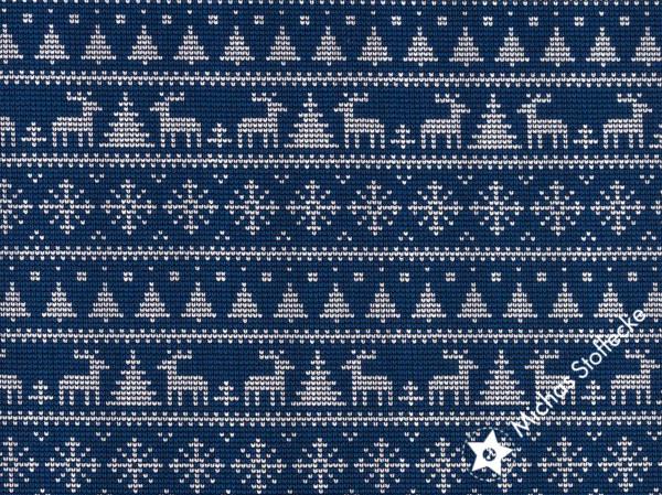 """Öko-tex Digitaltryck  Stretchjersey """"Stickat"""" jul blå /dm"""