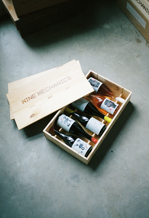 Wine Mechanics trälåda för 6 flaskor
