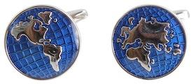 Manschettknapp - Blå världskarta