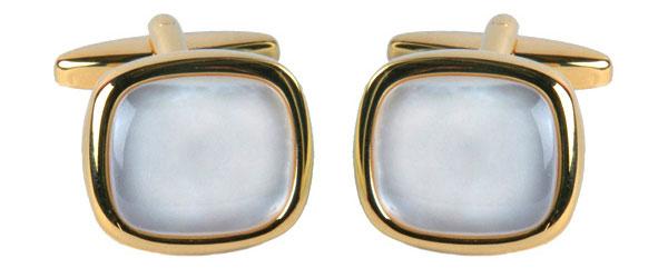 Manschettknapp - Pärlemor och guld