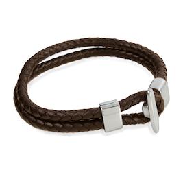 Armband - Brun dubbel flätad