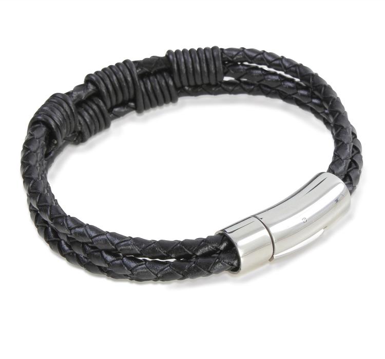 Armband - Svart trippelflätad