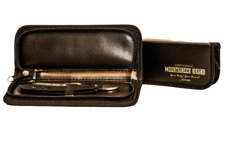 Svart rakkniv i etui - Mountaineer Brand
