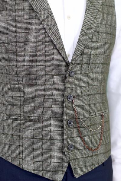 Grön tweedväst
