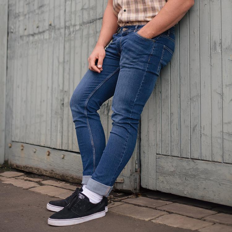 Mellanblå raka jeans-Leo