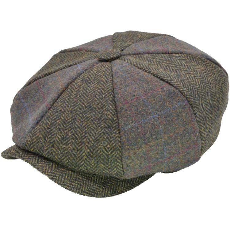 Grön tweed newsboy keps