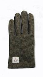 Brun handske i lammnappa-Harris Tweed